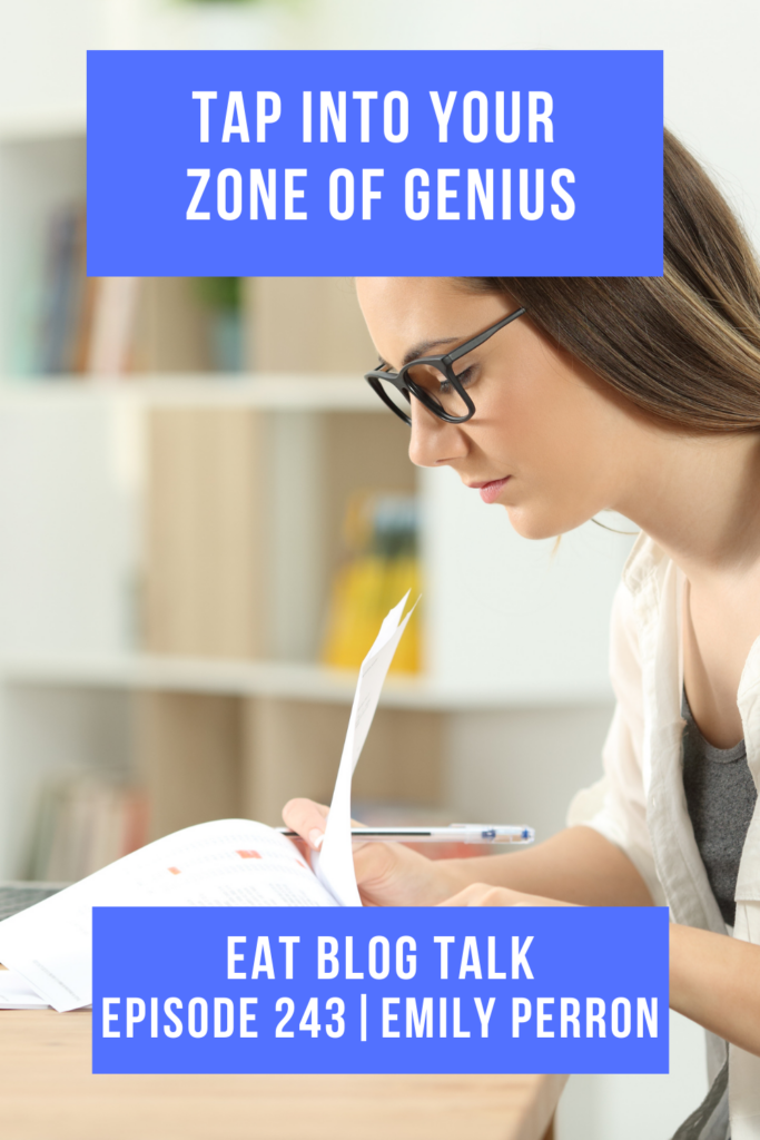 Pinterest image for episode 243 tap into your zone of genius with emily perron.