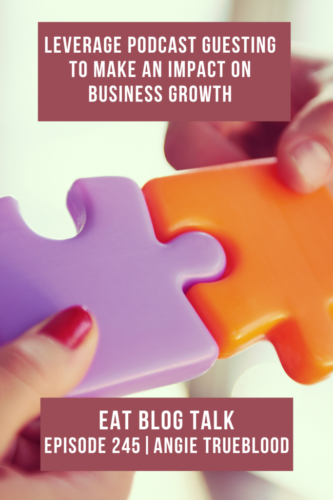 Pinterest image for episode 245 leverage podcast guesting to make an impact on business growth.